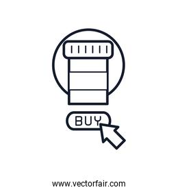 shopping online concept, medication pill bottle and web cursor icon, line style