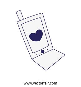 smartphone device technology heart love icon design line style
