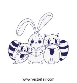cute rabbit and two cats cartoon character design line style