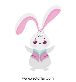cute little rabbit with clothes cartoon character icon