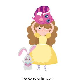 girl with cat in head and rabbit cartoon character wonderland