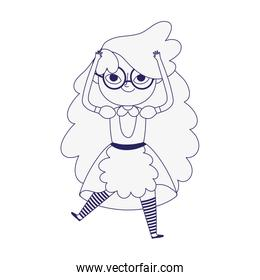 cute little girl princess cartoon character in dress with apron line style