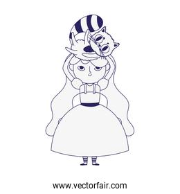 little girl princess carrying cat cartoon character line style