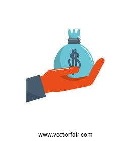 hand holding bag money business financial color tone and fill