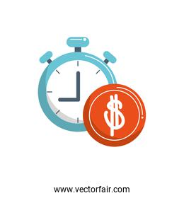 money business financial stopwatch coin color tone and fill