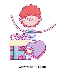 cute boy with gift and box shaped heart romantic love