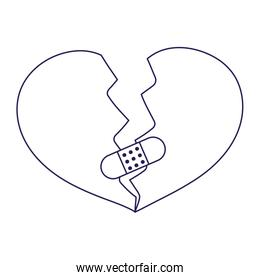 happy valentines day, broken heart love sad bandage first aid icon line style