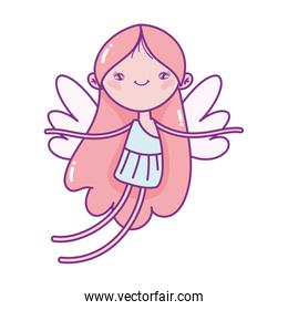 happy valentines day, cute cupid with wings cartoon love