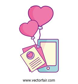 happy valentines day, phone message letter balloons heart love