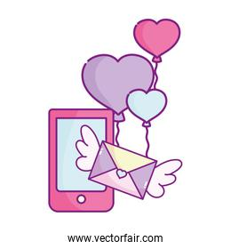 happy valentines day, phone mail message balloons shaped heart
