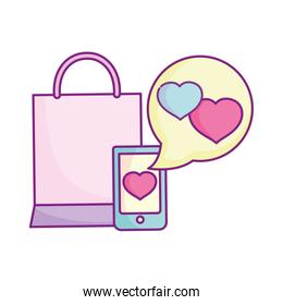 smartphone love message shopping bag