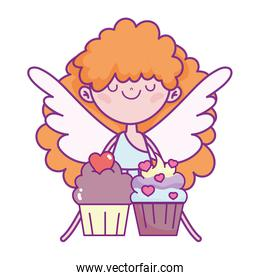 happy valentines day, cute cupid with sweet cupcakes love