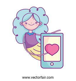 happy valentines day, cute girl with smartphone love romantic