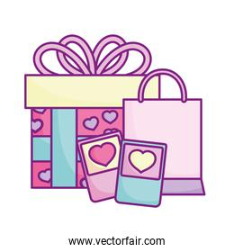 smartphone with shopping bag and gift celebration love