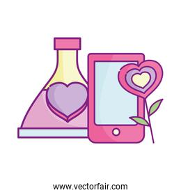 happy valentines day celebration, smartphone love bottle and flower heart