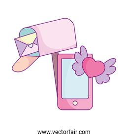 happy valentines day, mailbox letter smartphone heart wings love
