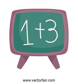 back to school chalkboard with math examples