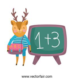 back to school, deer with clothes backpack chalkboard cartoon