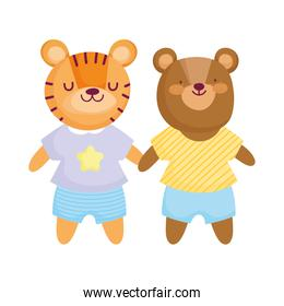 cute bear and tiger with clothes animals cartoon character