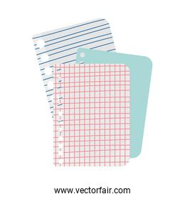 back to school papers sheet lines grid supply icon