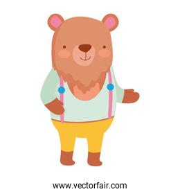 cute bear with clothes animal cartoon character
