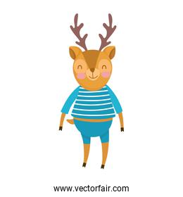 cute deer with clothes animal cartoon character