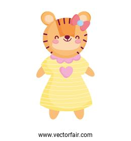 cute female tiger with dress animal cartoon character