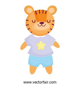 cute tiger with clothes animal cartoon character
