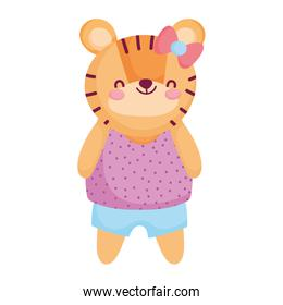 cute female tiger with clothes and bow animal cartoon character