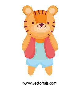 cute tiger with fashion clothes animal cartoon character