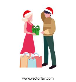 couples with gift boxes on white background