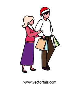 couple of people with shopping bag on white background