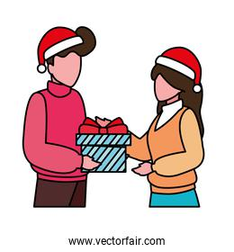 couples with gift box on white background