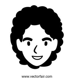 silhouette of head of man smiling on white background