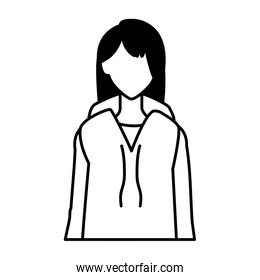 woman faceless standing on white background
