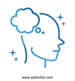 alzheimers disease neurological brain thinking bubble gradient line icon