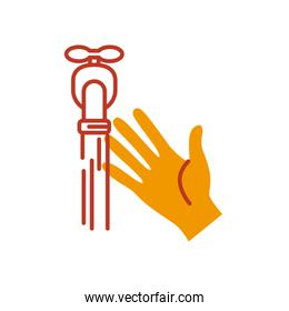 hand and water faucet icon, half line half color style