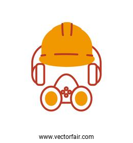 safety helmet, headphones and gas mask icon, half line half color style