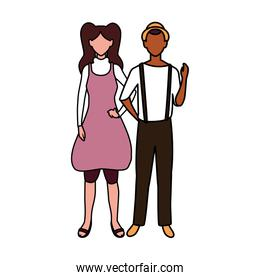 couple of people faceless on white background