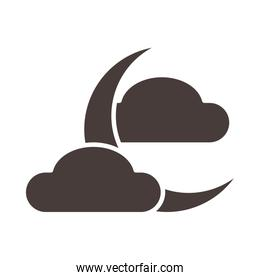 half moon clouds weather night silhouette style icon