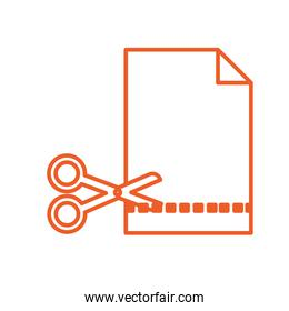 paper sheet with scissors cutting linear icon