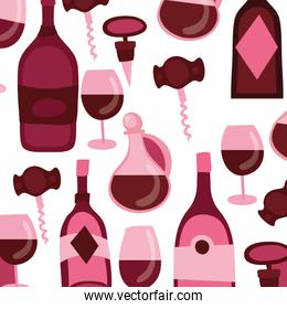 wine bottles and cups with corkscrew pattern background