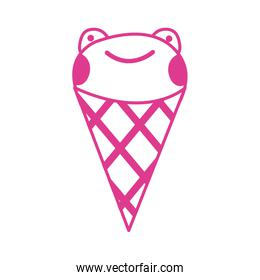 cute little pink  frog in ice cream cone