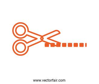 scissors cutting lines isolated icon