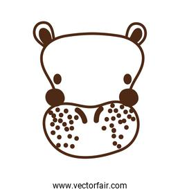 cute hippo wild animal character icon