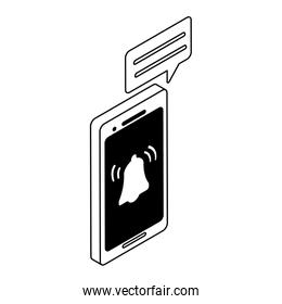 smartphone screen with mobile applications on white background