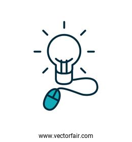 online education concept, idea bulb with mouse device icon, half line half color style