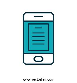 smartphone with education page icon, half line half color style