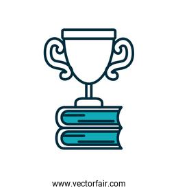 stack of education books with trophy icon, half line half color style
