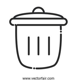 cleaning, trash can waste domestic hygiene line style icon